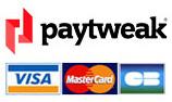 logo paytweak et carte bleu visa mastercard